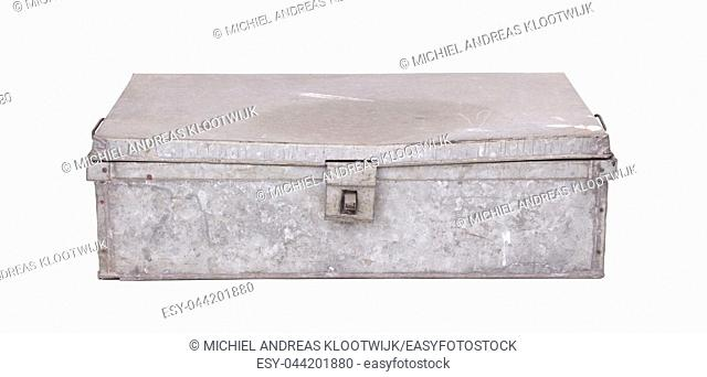 Old metal box isolated on white background - Used for shipping goods