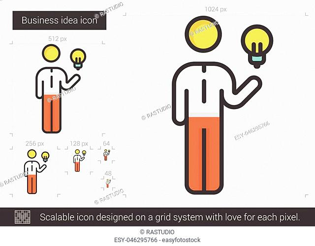 Business idea vector line icon isolated on white background. Business idea line icon for infographic, website or app. Scalable icon designed on a grid system