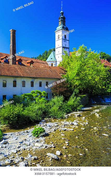 The Selca Sora River in Skofja Loka. Upper Carniola region. Slovenia, Europe