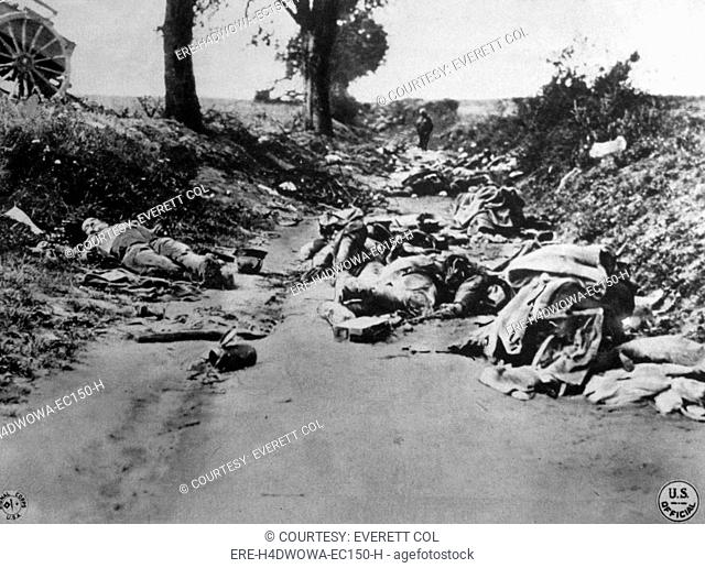World War I, dead German soldiers after the fighting at Soissons, U.S. Signal Corps photograph, 1918