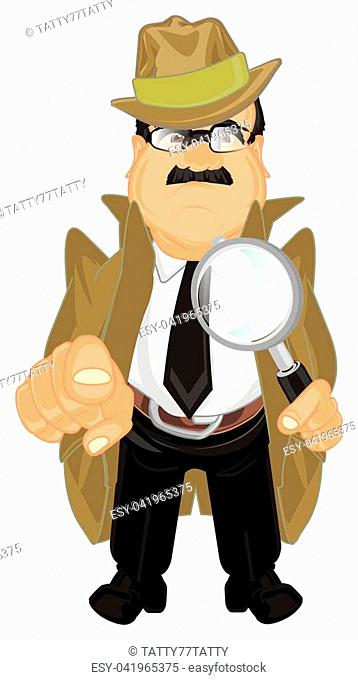 sad detective hold magnifier and show gesture