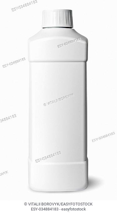 White plastic bottle of detergent isolated on white background