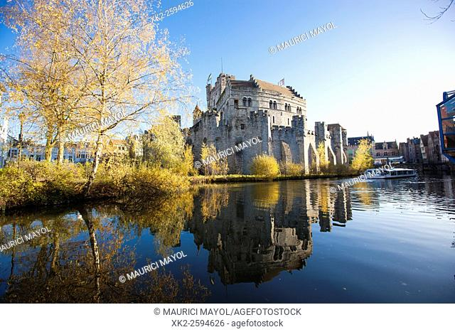 Autumn at Gravensteen castle, Ghent, Belgium