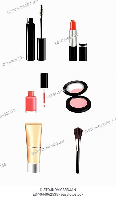 Woman makeup set, vector