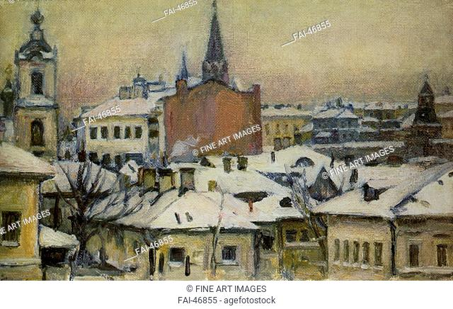 View of the Kremlin by Surikov, Vasili Ivanovich (1848-1916)/Oil on canvas/Realism/1913/Russia/State Tretyakov Gallery, Moscow/29x48/Landscape/Painting/Blick...