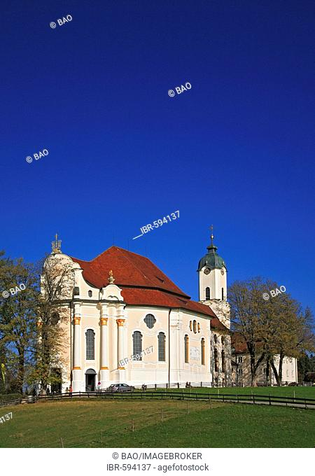 Wies Church, pilgrimage church of the scourged Savior, County Steingaden, Pfaffenwinkel, Bavaria, Germany, Europe