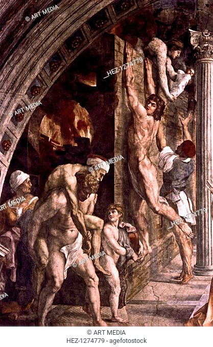 'The Fire in the Borgo' (detail), 1514. This fresco in the Vatican depicts a fire which broke out in the Borgo in Rome in 847