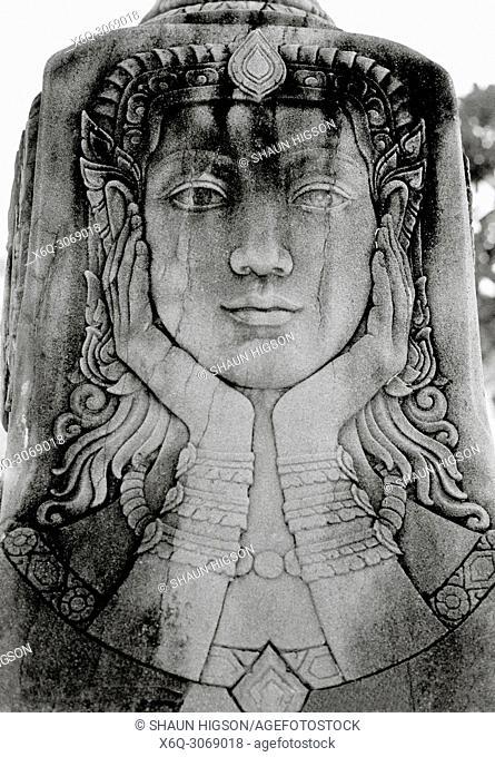 Ancient carvings at Wat Pathum Wanaram lotus Temple in Bangkok in Thailand in Southeast Asia Far East