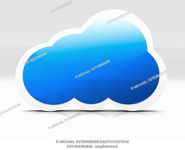 A cloud symbol. 3D rendered illustration