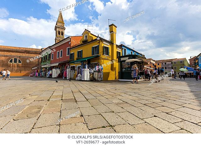 Europe, Italy, Veneto, Venice. Galuppi square in Burano island with the colorful houses