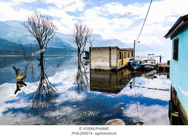 Damage caused by rising water levels in Lake Atitlan, Guatemala