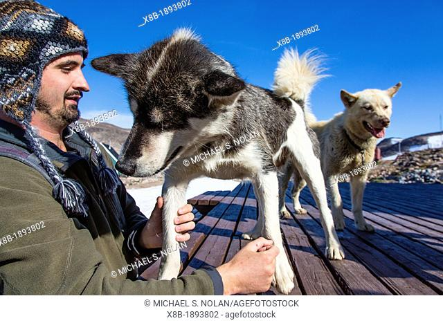 Guest Sam DeBey from the National Geographic Explorer with sled dogs at the Inuit village of Ittoqqortoormiit, Northeast Greenland  Model Release SD081512