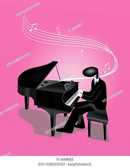 Pianist Man Playing Grand Piano with Musical Notes and Sound Waves