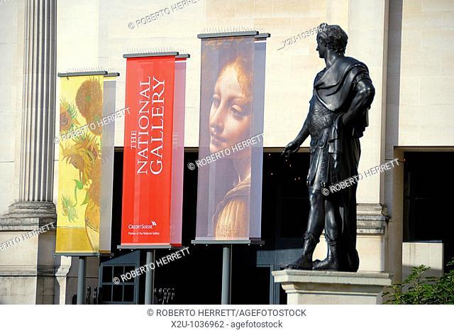 Banners outside the National Gallery Sainsbury Wing, Trafalgar Square, London, England, UK