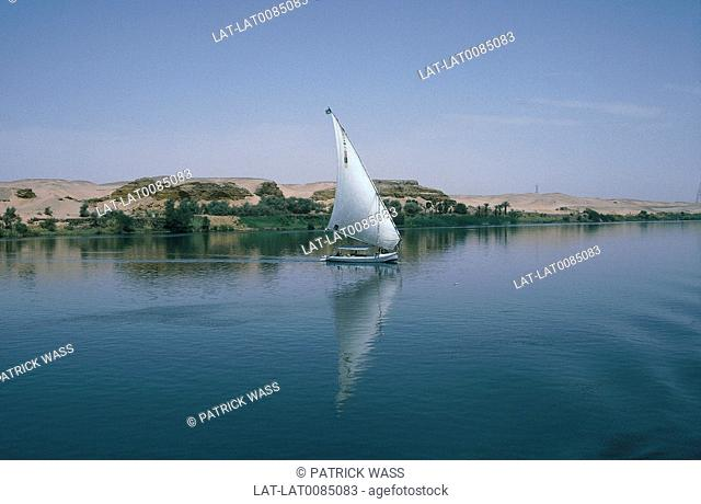 River Nile. Calm water. Sand dunes,banks. Boat,felucca with white triangle sail