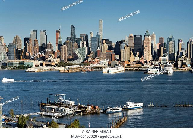 View to Manhattan of Hamilton park, Hudson River, Jersey city, New Jersey, the USA