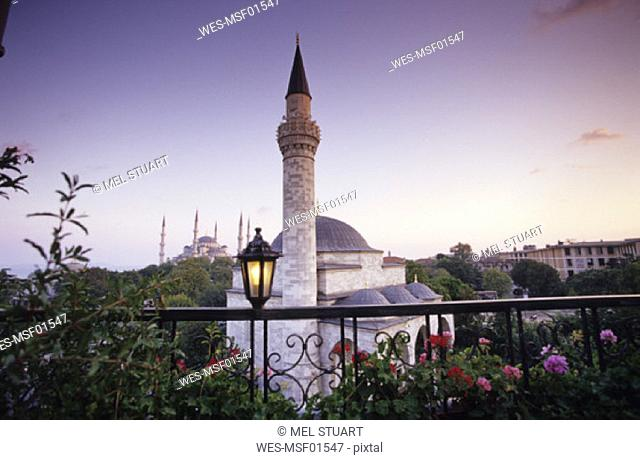 Turkey, Istanbul, minaret of Firuz Aga Camii (Sultanachmet Camii), Blue Mosque in the background