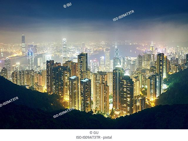 Cityscape at night, Victoria Peak, Hong Kong