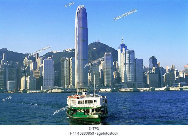 China, Asia, Hong Kong, Tsim Sha Tsui, Kowloon, Central, Victoria harbor, Star Ferry, Boat, Boats, City Skyline, Skyli