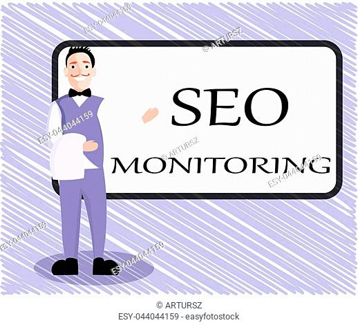 Text sign showing Seo Monitoring. Conceptual photo Tracking the progress of strategy made in the platform