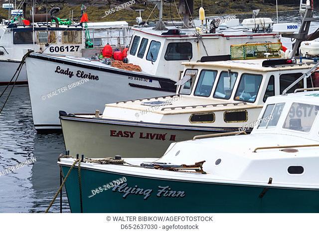 USA, Massachusetts, Cape Ann, Rockport, Granite Pier, lobster boats