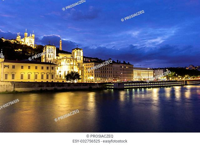 View on Lyon by the river in France in the evening