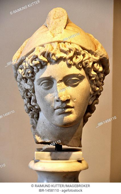 Marble bust of head with cap, Paris, Museo Palatino, Palatino, Rome, Lazio, Italy, Europe