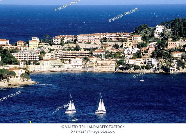 Ferrat Cape and Villefranche-sur-Mer bay. Alpes Maritimes, France