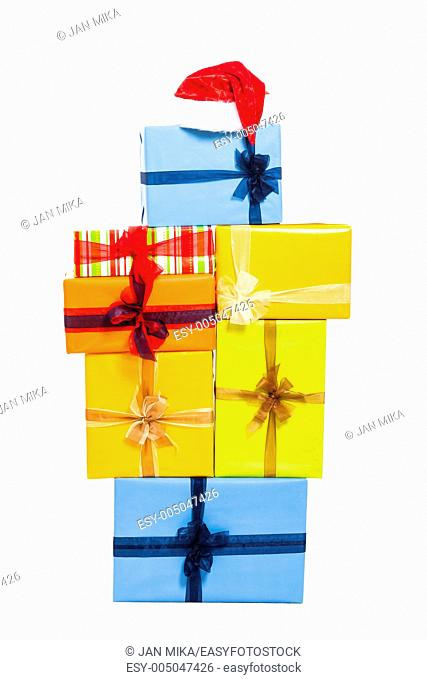 Christmas Santa red hat and gift boxes, isolated on white background