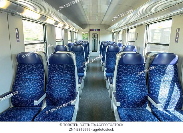 Inside a Cabin of a Regional Express Train. Austria