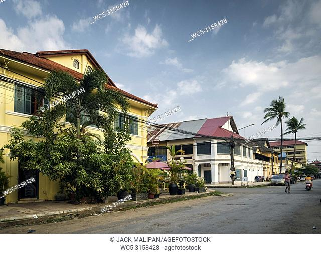 old french colonial architecture buildings in kampot downtown street cambodia