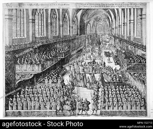 Part I: Carolo III. Lotharingiae et Barri Duci. . .Dix grande Tables, contenantes les pourtaictz des pompe funebres. Artist: Frédéric Brentel (German