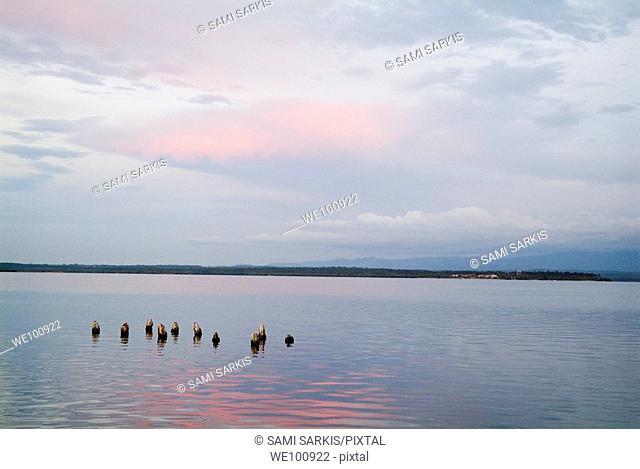 Rippled waters of Cienfuegos Bay at sunset from Punta Gorda, Cuba
