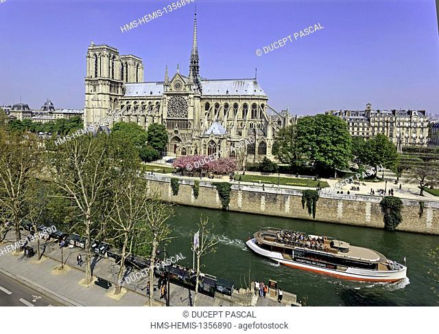 France, Paris, area listed as World Heritage by UNESCO, elevated view of Notre Dame cathedral on the City island