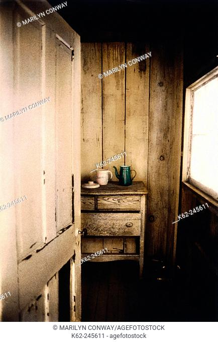 Dishes on dresser in ghost town home