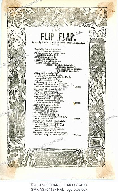 """Broadside from the American Civil War entitled """"""""Flip Flap"""""""", describing the battles to come and claiming that the Union Army will be victorious, New York"""