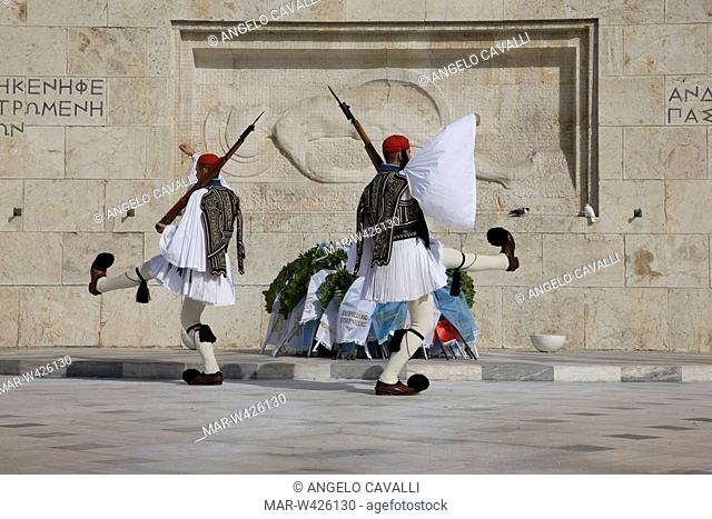 Greece. Athens. Guards at the Greek Parliament