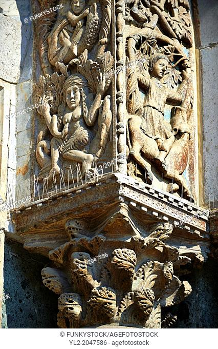 "13th century Medieval Romanesque Sculptures from the facade of St Mark's Basilica, Venice, depicting """"Lust"""" and Samson killing the lion cubs"