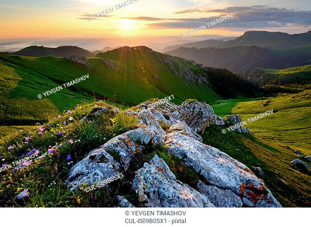 Rock and valley landscape, Bolshoy Thach (Big Thach) Nature Park, Caucasian Mountains, Republic of Adygea, Russia