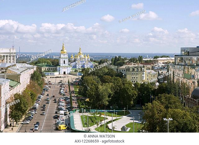 St Michael's Monastery seen from the bell tower of St Sophia's cathedral; Kiev, Ukraine