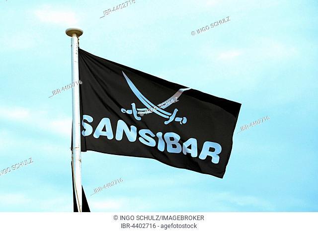 Flag of cult restaurant Zanzibar, Rantum, Sylt, North Frisian Islands, North Frisia, Schleswig-Holstein, Germany