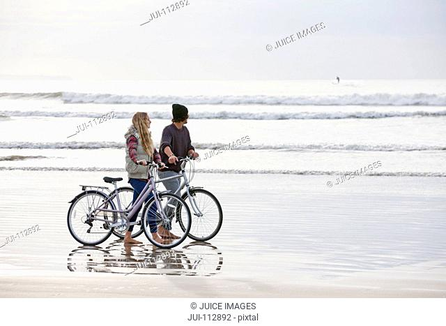 Couple with bicycles looking at ocean view from beach