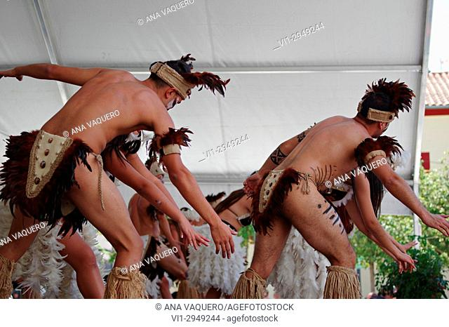 Folk festival held in Miajadas, dancers from Easter Island (Rapa Nui)