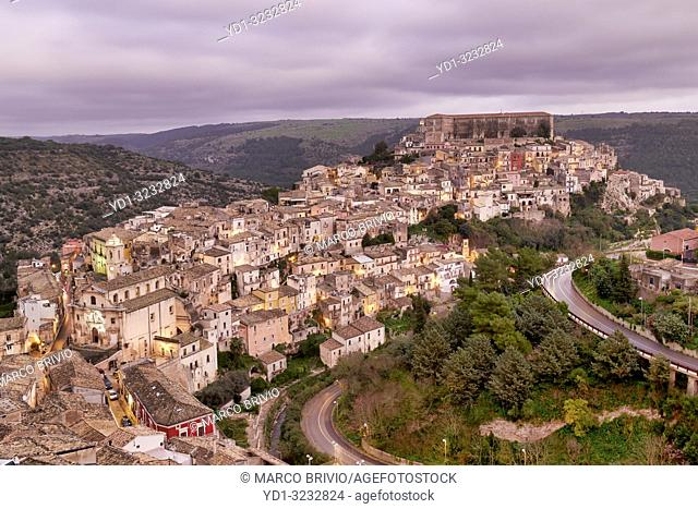 Panorama view of Ragusa Ibla old town at sunset. Sicily Italy