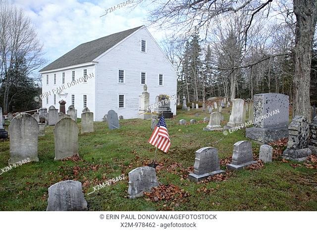 Harrington Meeting House during the autumn months  Located in Bristol, Maine USA This Meetinghouse is listed on the National Register of Historic Places