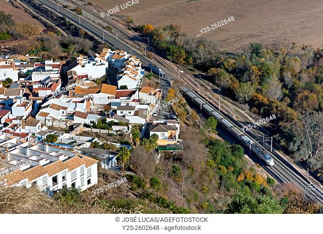 Panoramic view and AVE train, Almodovar del Rio, Cordoba province, Region of Andalusia, Spain, Europe