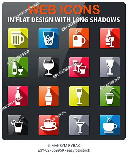 glasses icons set in flat design with long shadow