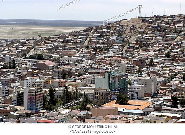 Bolivia, view over the city Oruro with the alto plano, or plateau, in the background  Oruro is loca