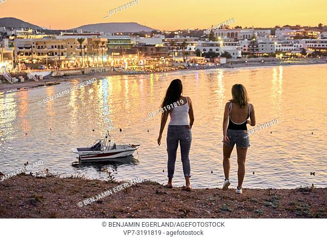 two women, friends, seaside, hanging out, together, holiday, in Chersonissos, Crete, Greece