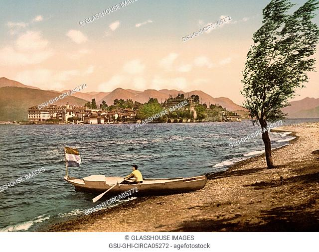 Isola Bella, Lake Maggiore, Italy, Photochrome Print, Detroit Publishing Company, 1900